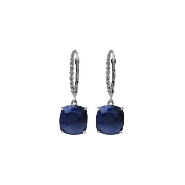 Genuine 9.66 ctw Sapphire Earrings 14KT White Gold - REF-89V3W