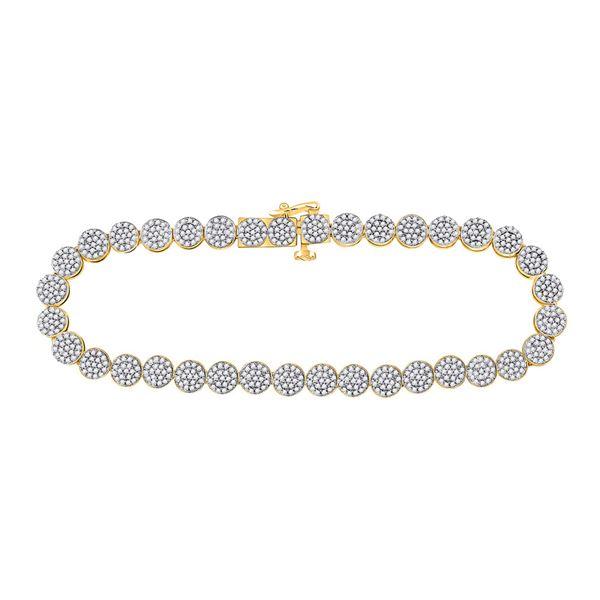Round Diamond Cluster Bracelet 2 Cttw 14KT Yellow Gold