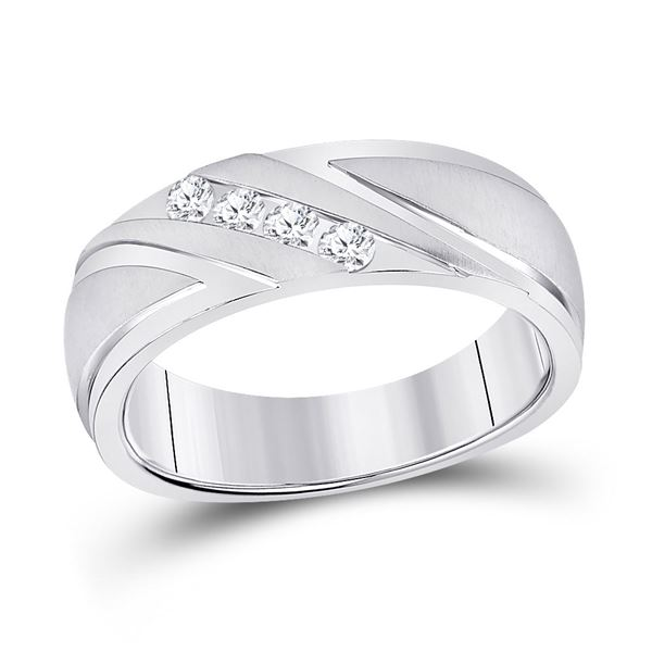 Round Channel-set Diamond Wedding Anniversary Band Ring 1/4 Cttw 10KT White Gold