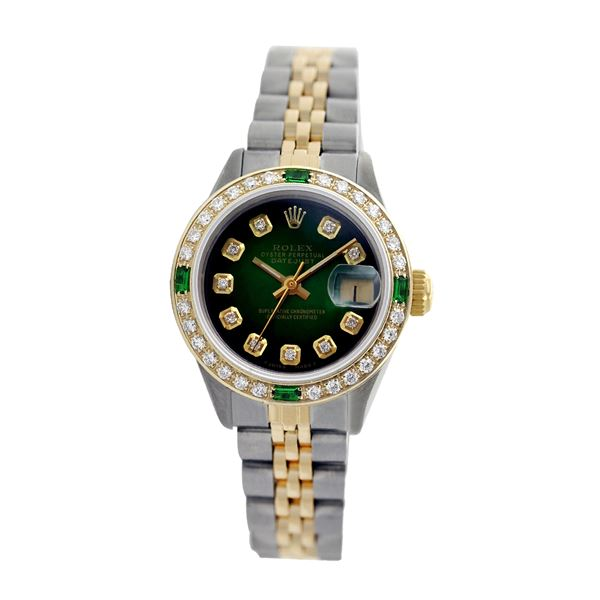 Rolex Pre-owned 26mm Womens Custom Green Vignette Two Tone