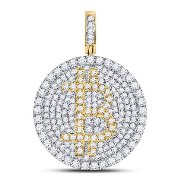 Round Diamond Bitcoin Circle Charm Pendant 2-1/2 Cttw 10KT Yellow Gold