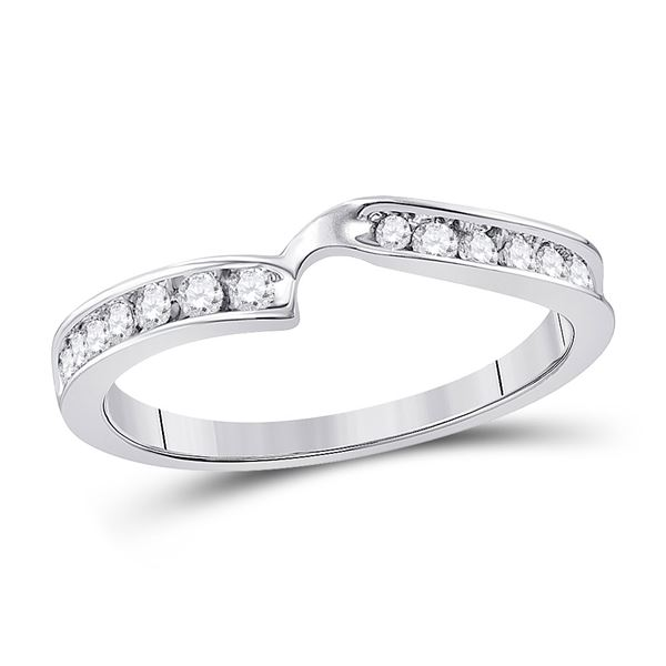 Round Diamond 2-stone Wedding Band 1/4 Cttw 10KT White Gold