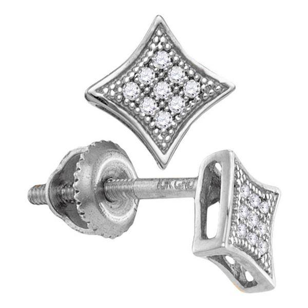 Round Diamond Square Kite Cluster Earrings 1/20 Cttw 10KT White Gold
