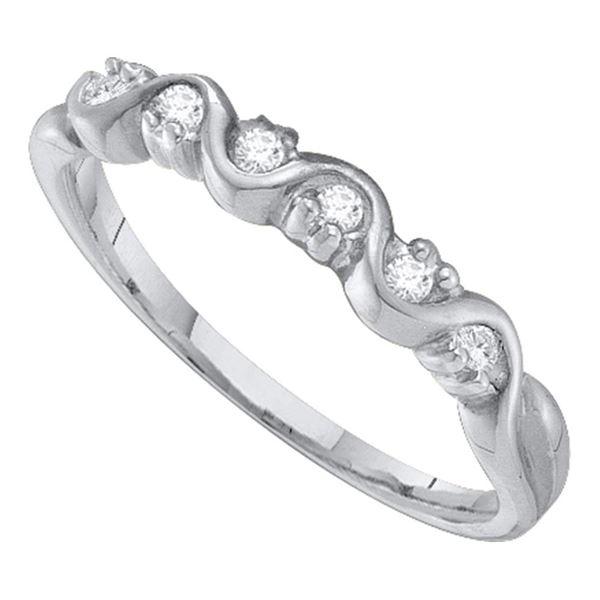 Round Diamond Wavy Band Ring 1/10 Cttw 10KT White Gold