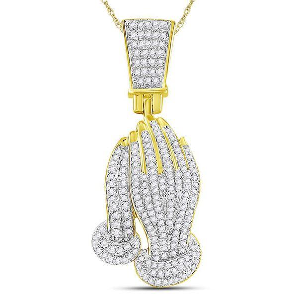 Round Diamond Praying Hands Faith Charm Pendant 3/8 Cttw 10KT Yellow Gold
