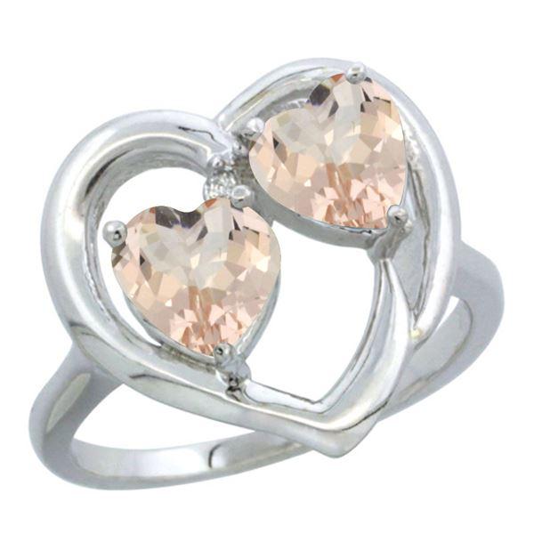 1.20 CTW Morganite Ring 10K White Gold - REF-29H3M