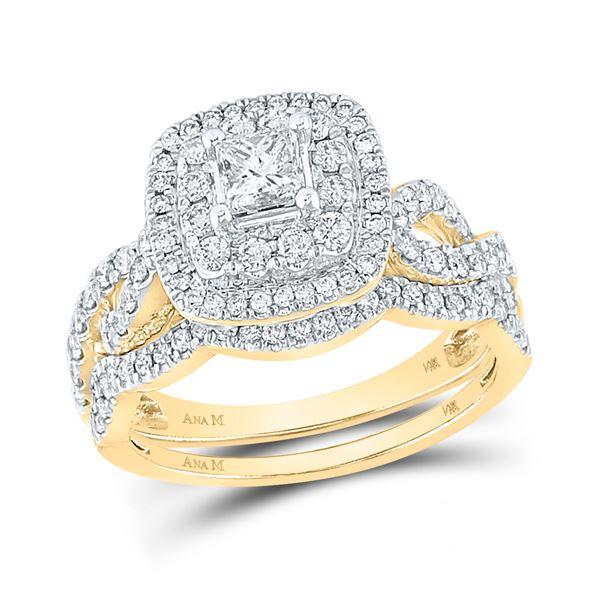 Bridal Wedding Ring Band Set 1-1/5 Cttw 14KT Yellow Gold