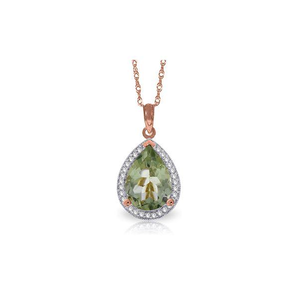 Genuine 3.36 ctw Green Amethyst & Diamond Necklace 14KT Rose Gold - REF-69A6K