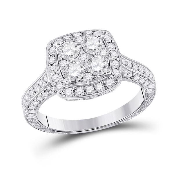 Diamond Cluster Bridal Wedding Engagement Ring 1-1/4 Cttw 14KT White Gold