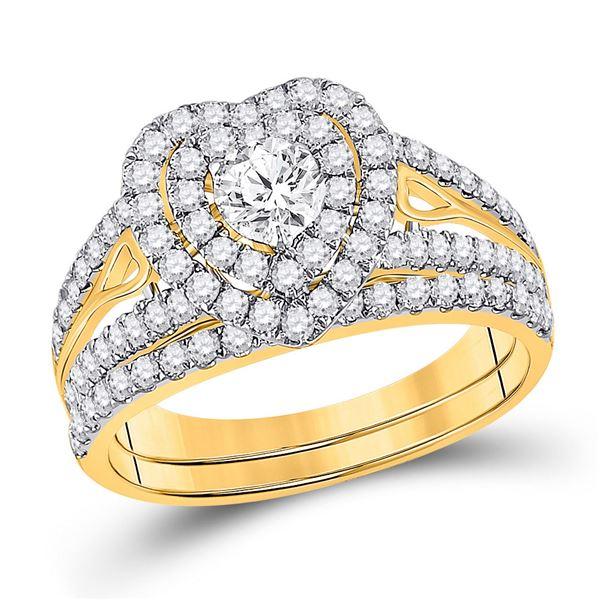 Diamond Bridal Wedding Ring Band Set 1-1/5 Cttw 14KT Yellow Gold
