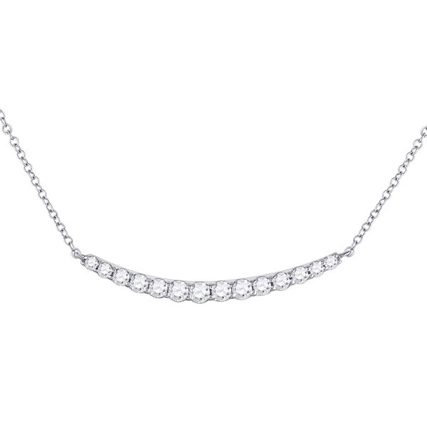 Round Diamond Curved Bar Necklace 3/4 Cttw 14KT White Gold