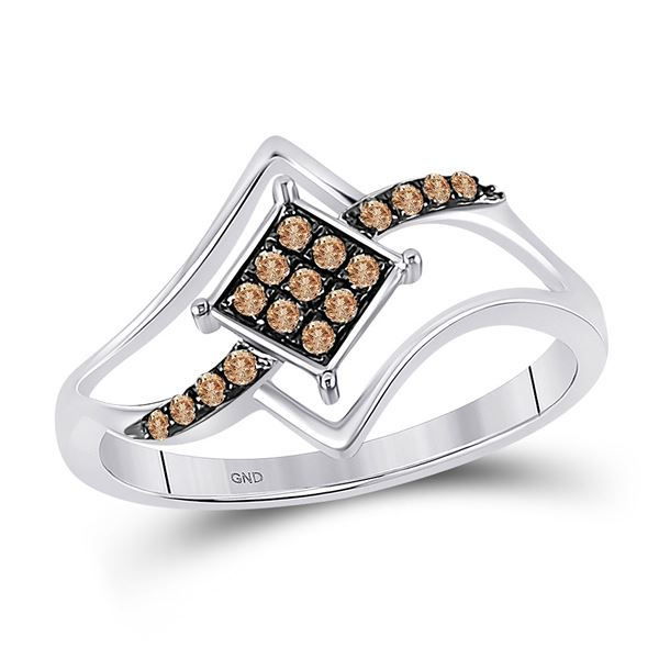 Round Brown Diamond Square Cluster Ring 1/6 Cttw 10KT White Gold
