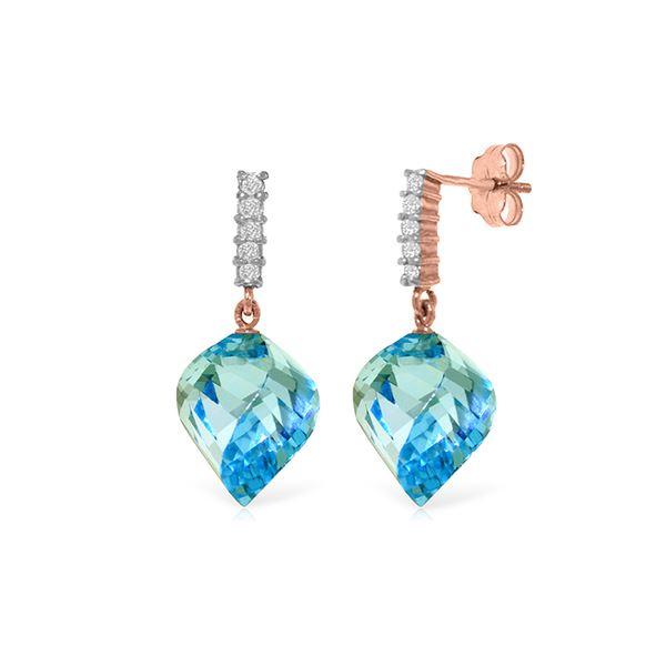 Genuine 27.95 ctw Blue Topaz & Diamond Earrings 14KT Rose Gold - REF-87X5M