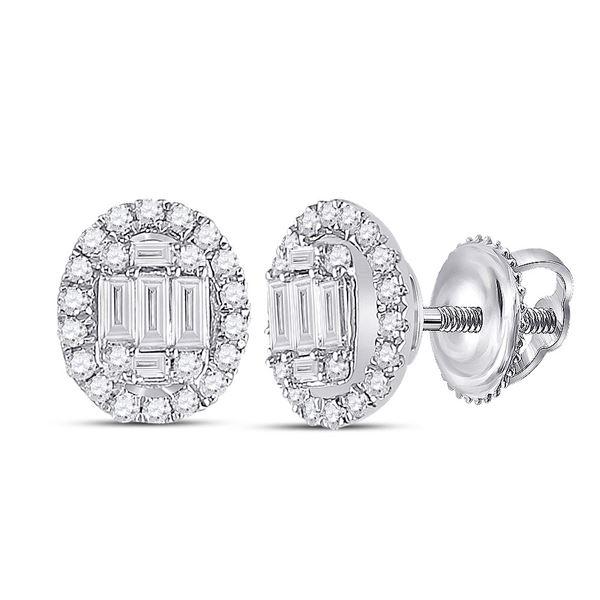 Baguette Diamond Oval Earrings 3/8 Cttw 14KT White Gold