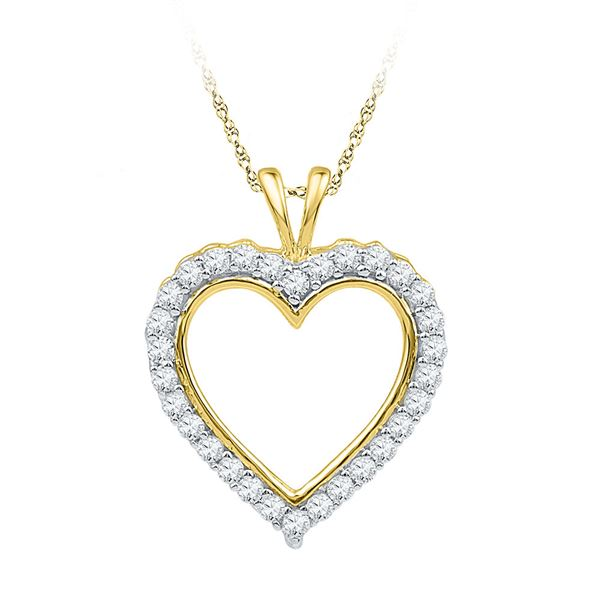 Round Diamond Heart Outline Pendant 1/4 Cttw 10KT Yellow Gold