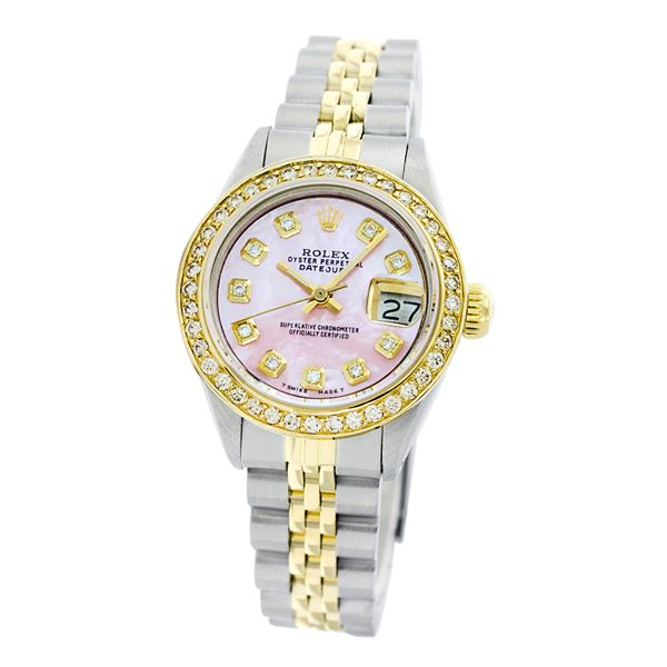 Rolex Pre-owned 26mm Womens Custom Pink Mother of Pearl Two Tone