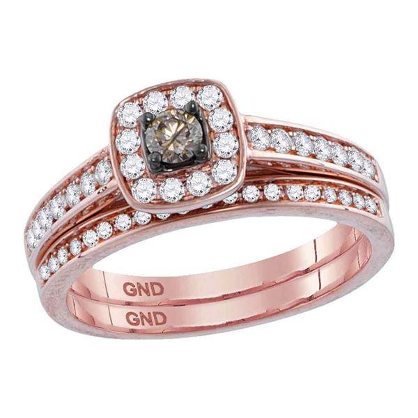 Round Brown Diamond Bridal Wedding Ring Band Set 1/2 Cttw 14KT Rose Gold