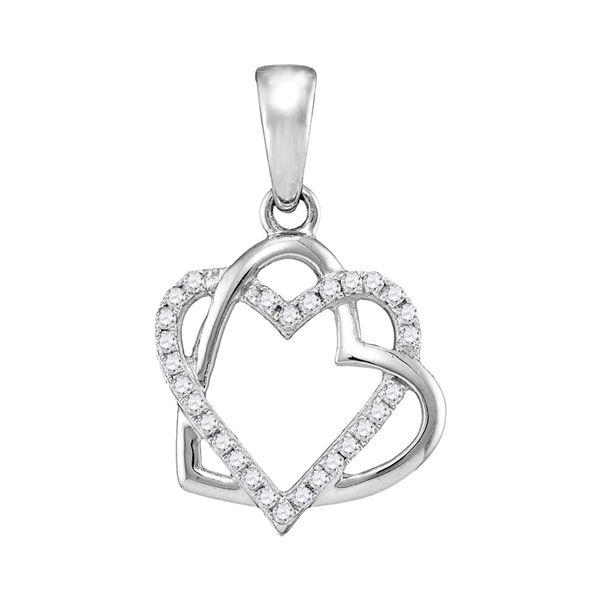 Round Diamond Heart Pendant 1/4 Cttw 10KT White Gold