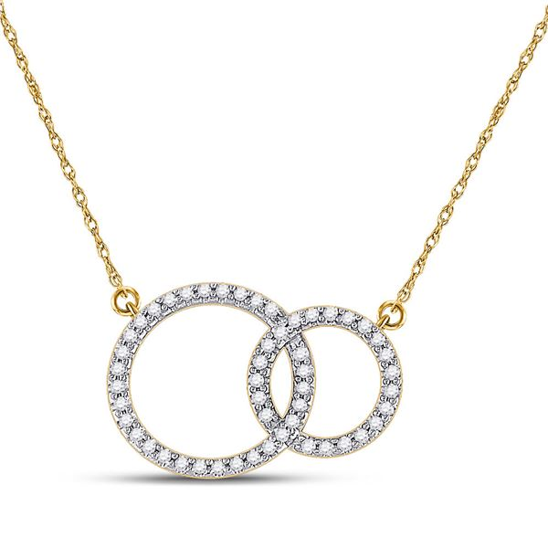 Round Diamond Double Circle Necklace 1/6 Cttw 10KT Yellow Gold