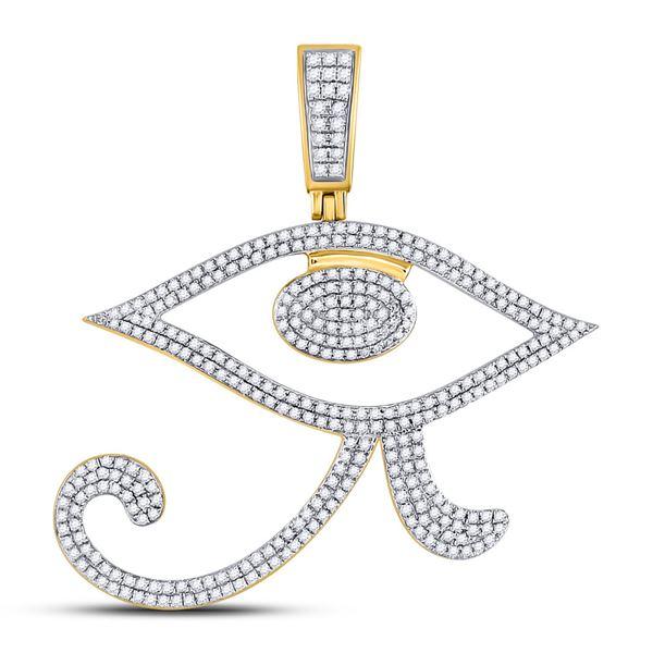 Round Diamond Eye of Ra Egyptian Charm Pendant 1 Cttw 10KT Yellow Gold