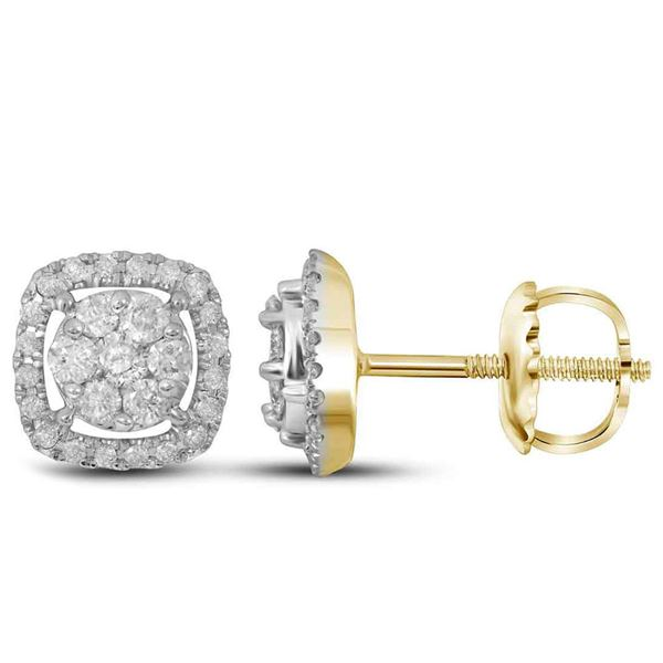 Round Diamond Cushion Cluster Earrings 3/8 Cttw 14KT Yellow Gold