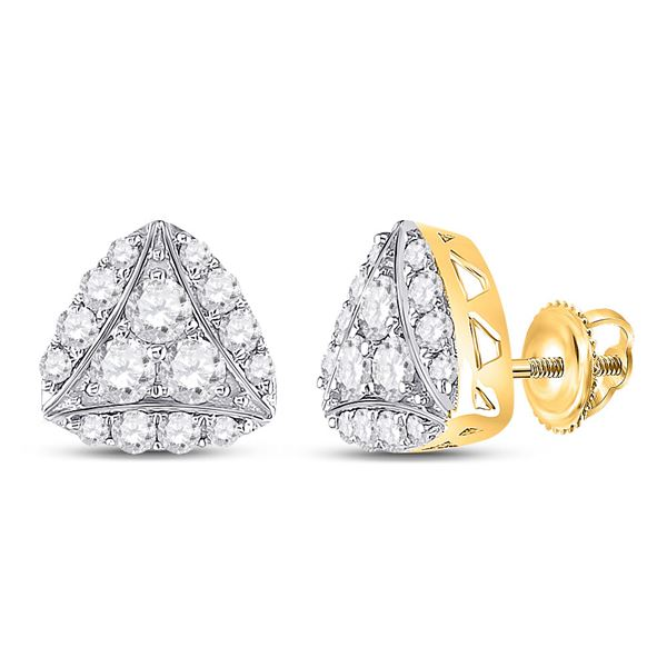 Round Diamond Triangle Cluster Earrings 7/8 Cttw 14KT Yellow Gold