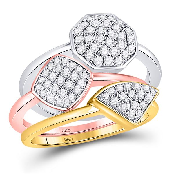 Round Diamond Stackable Ring 3-Piece Set 3/4 Cttw 10KT Tri-Tone Gold