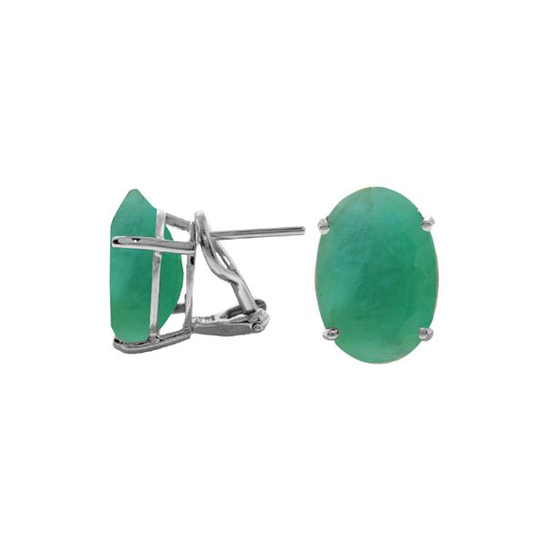 Genuine 13 ctw Emerald Earrings 14KT White Gold - REF-160N9R