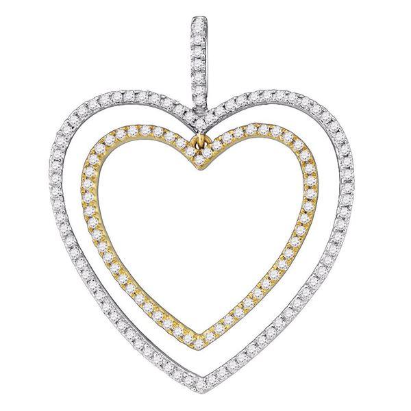 2-tone Double Heart Pendant 1/2 Cttw 10KT Two-tone Gold