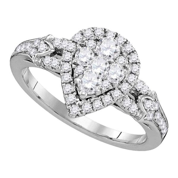 Diamond Cluster Bridal Wedding Engagement Ring 3/4 Cttw 14KT White Gold