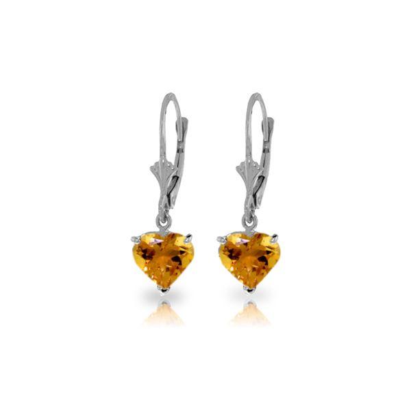 Genuine 3.05 ctw Citrine Earrings 14KT White Gold - REF-29P7H