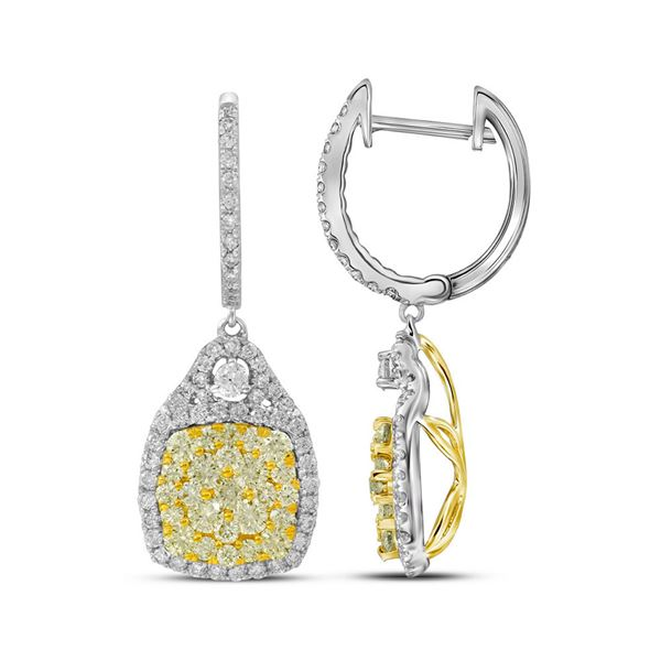 Round Canary Yellow Diamond Dangle Earrings 2-1/2 Cttw 14KT White Gold