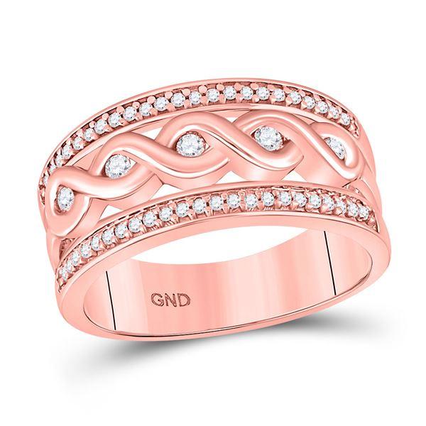 Round Diamond Twist Scroll Band Ring 1/4 Cttw 10KT Rose Gold