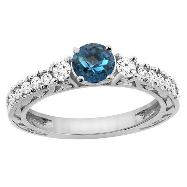 1.35 CTW London Blue Topaz & Diamond Ring 14K White Gold - REF-79K6W