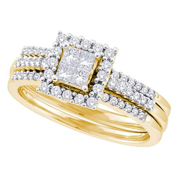 3-Piece Bridal Wedding Ring Band Set 1/2 Cttw 14KT Yellow Gold