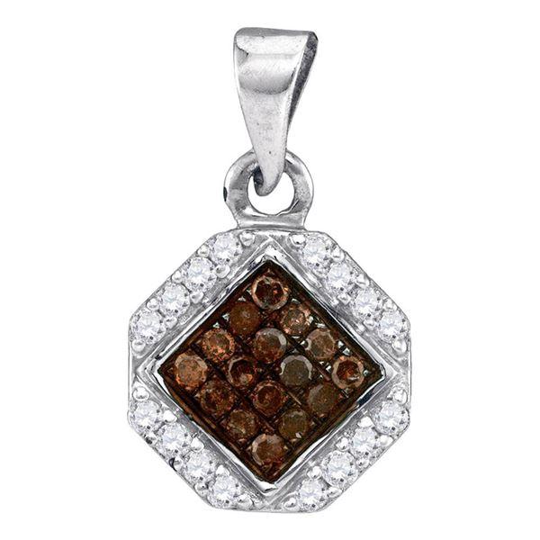 Round Brown Diamond Geometric Cluster Pendant 1/4 Cttw 10KT White Gold