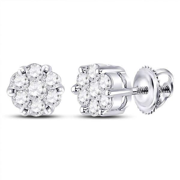 Round Diamond Flower Cluster Earrings 1/4 Cttw 10KT White Gold