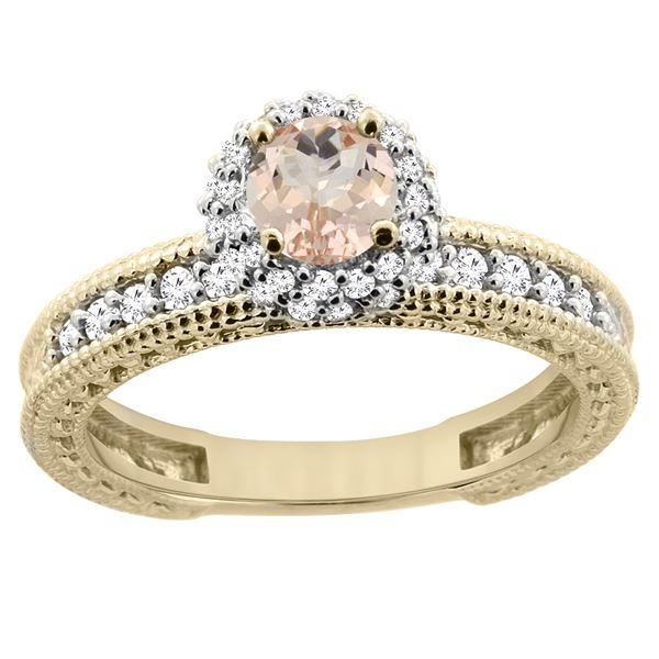 0.79 CTW Morganite & Diamond Ring 14K Yellow Gold - REF-67A3X