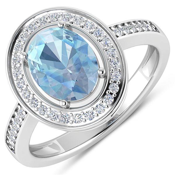 Natural 1.62 CTW Aquamarine & Diamond Ring 14K White Gold - REF-59M8T