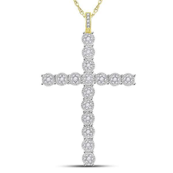 Round Diamond Cross Charm Pendant 1 Cttw 10KT Yellow Gold