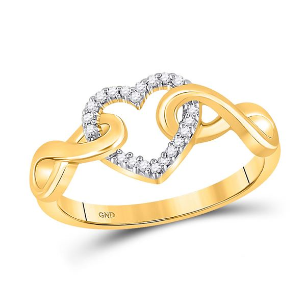 Round Diamond Infinity Twist Heart Ring 1/10 Cttw 10KT Yellow Gold