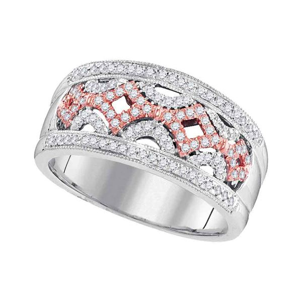 Round Diamond Band Ring 1/3 Cttw 10KT Two-tone Gold