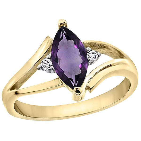 1.04 CTW Amethyst & Diamond Ring 10K Yellow Gold - REF-22M9A