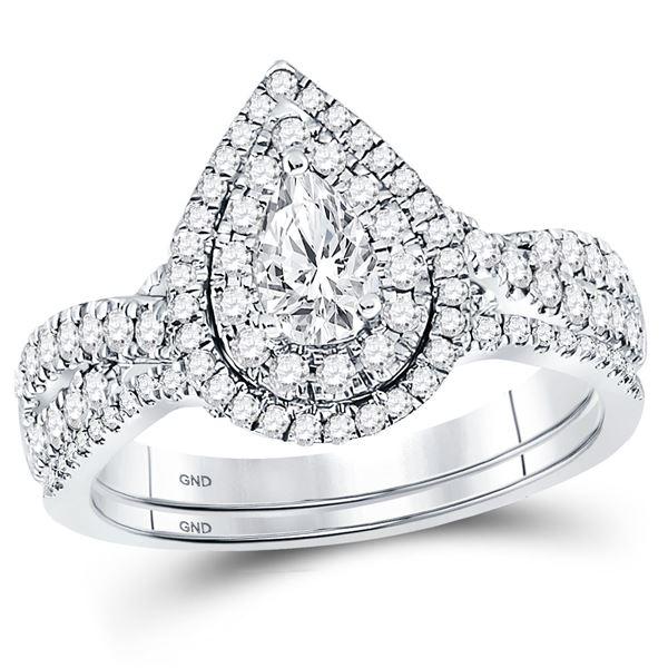 Bridal Wedding Ring Band Set 1 Cttw 14KT White Gold