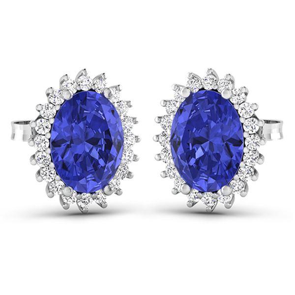 Natural 2.56 CTW Tanzanite & Diamond Earrings 14K White Gold - REF-48K3W