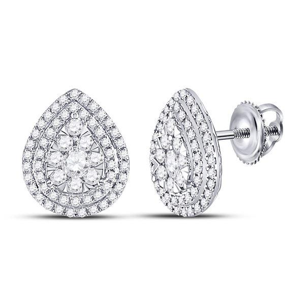 Round Diamond Cluster Teardrop Earrings 1 Cttw 14KT White Gold