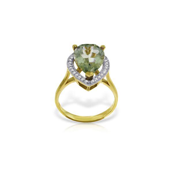 Genuine 3.41 ctw Green Amethyst & Diamond Ring 14KT Yellow Gold - REF-75K4V