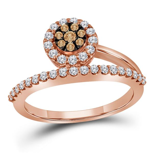 Round Brown Diamond Cluster Ring 1/2 Cttw 10KT Rose Gold