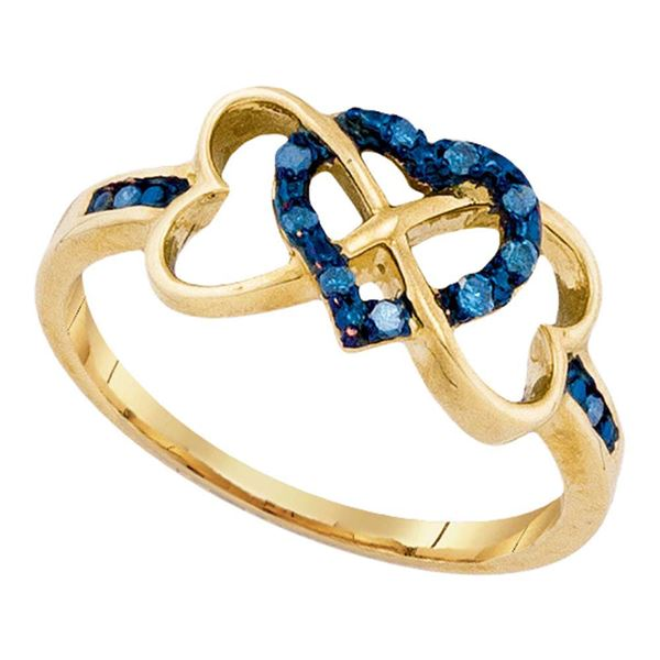Round Blue Color Enhanced Diamond Triple Trinity Heart Ring 1/10 Cttw 10KT Yellow Gold