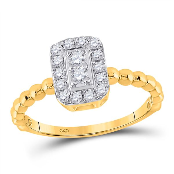 Round Diamond Rectangle Cluster Ring 1/3 Cttw 10KT Yellow Gold